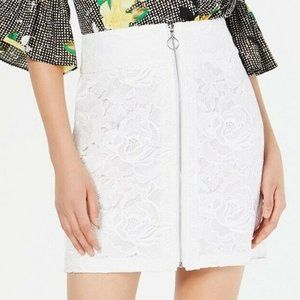 INC 16 Bright White Lace O-Ring Skirt NWT AN19